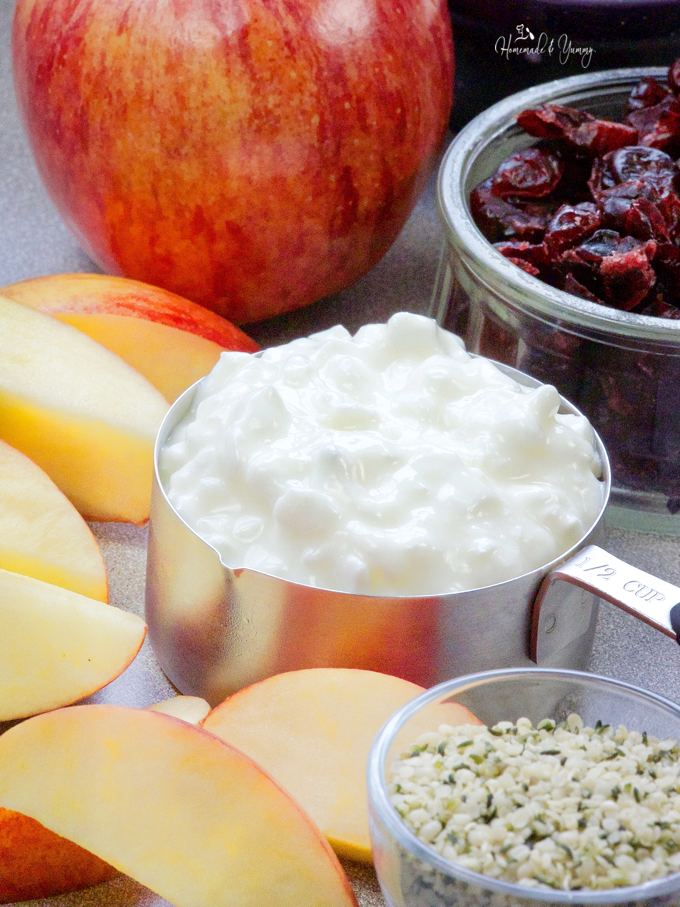 Ingredients to make the Apple Cottage Cheese Smoothie.