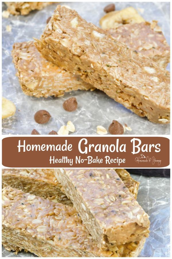 Homemade Granola Bars Healthy No-Bake Recipe pin image.