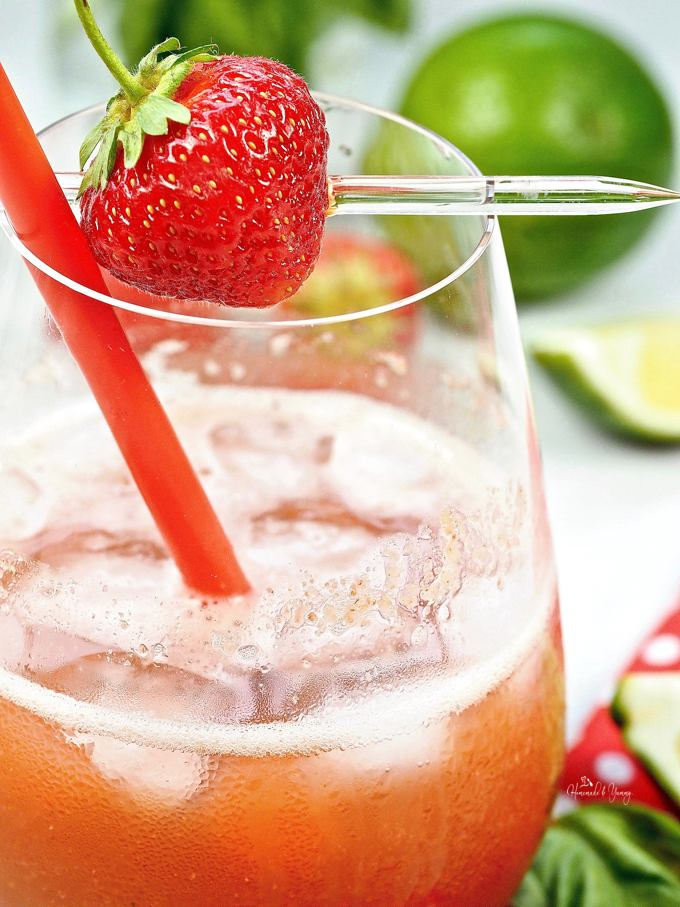 A nice cold Strawberry Basil flavoured Tequila Cocktail ready to sip in the backyard.