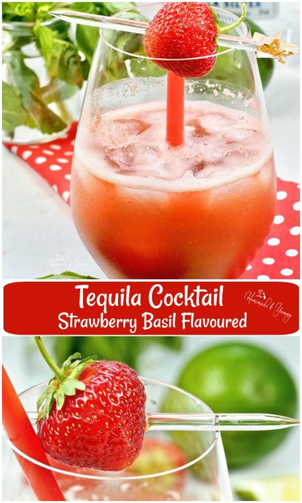 Tequila Cocktail Strawberry Basil pin image.