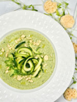 Overhead shot of Zucchini Noodle Gazpacho Cold Blender Soup in a bowl ready to eat.