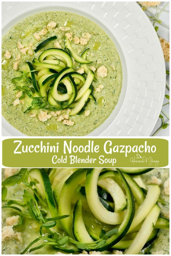 Zucchini Noodle Gazpacho Cold Blender Soup Pin Image