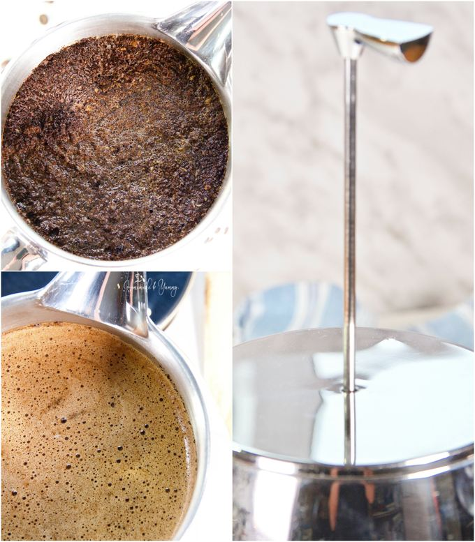 Collage of steps required to make French Press Cold Brew