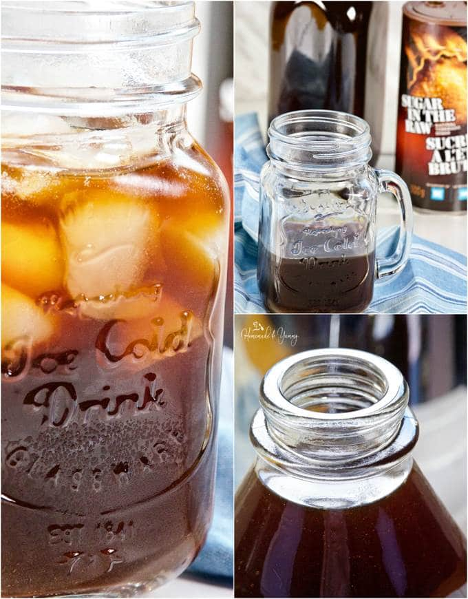 Images of the french press cold brew coffee concentrate.