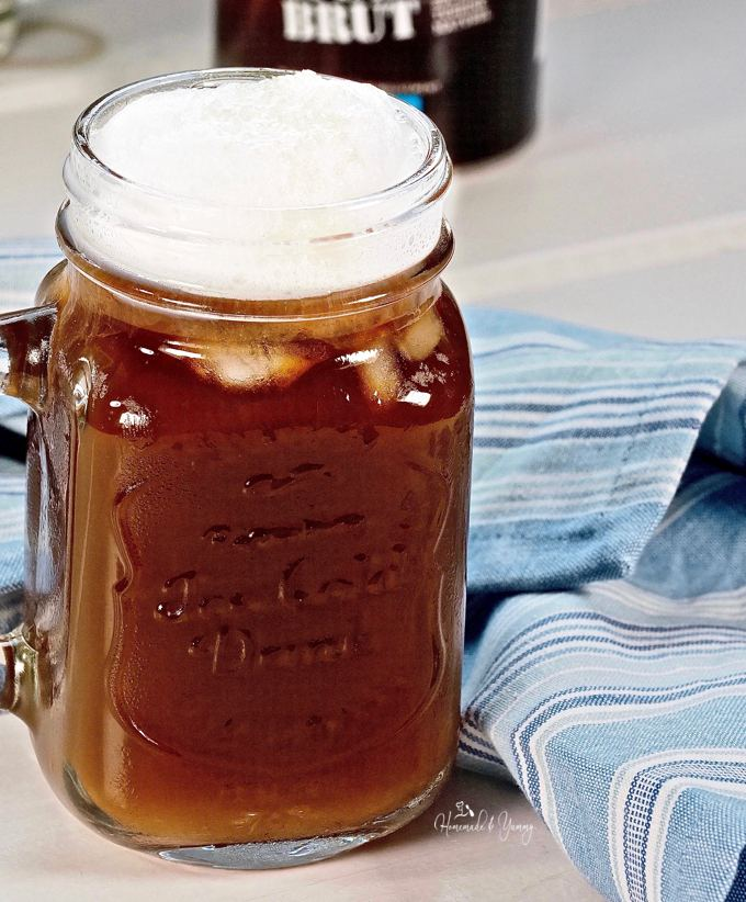 French Press Cold Brew Topped With Cold Foam ready to drink.