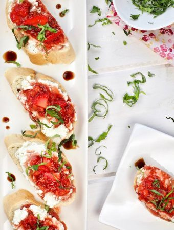Overhead shot of Sweet Strawberry Bruschetta with Ricotta & Balsamic Glaze on a plate ready to eat.