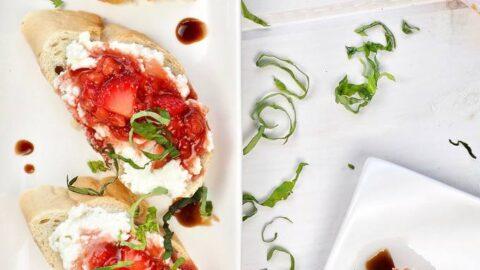 Sweet Strawberry Bruschetta With Ricotta & Balsamic Glaze