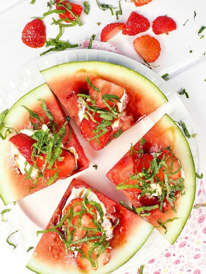 Watermelon Pizza Easy Fruit Dessert perfect for summer eating.