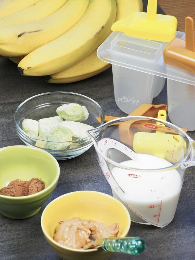 Ingredients ready to make banana popsicles.