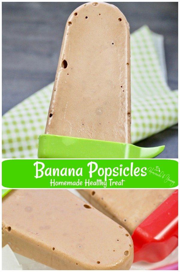 Banana Popsicles Homemade Healthy Treat Pin Image