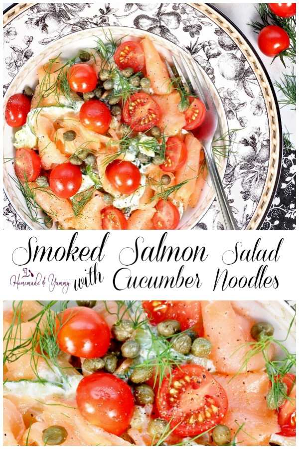 Smoked Salmon Salad with Cucumber Noodles Pin Image