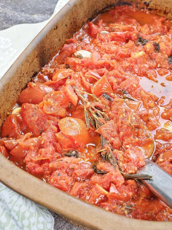 A pan of simple roasted tomatoes right out of the oven.