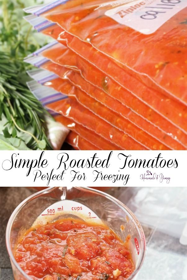 Simple Roasted Tomatoes Perfect For Freezing Pin Image.