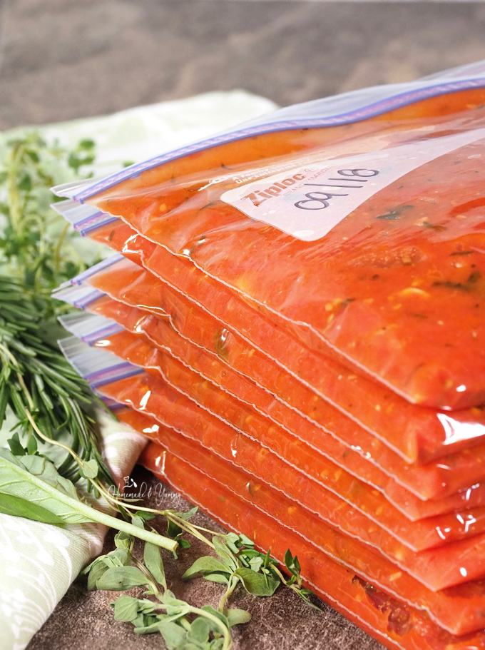 Roasted tomatoes in freezer bags.