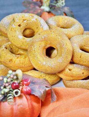 a pile of Baked Pumpkin Spice Donuts ready to eat!