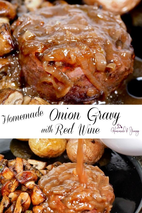 Homemade Onion Gravy with Red Wine Pin Image.