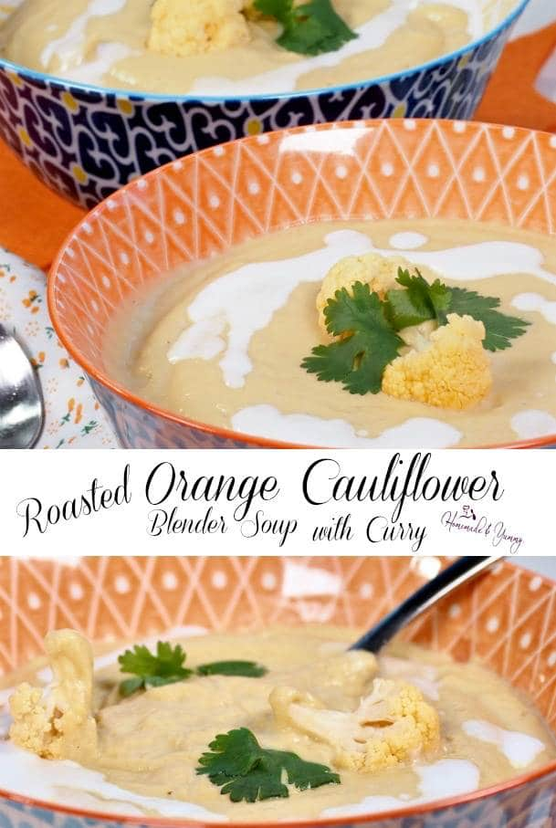 Roasted Orange Cauliflower Blender Soup with Curry Pin Image