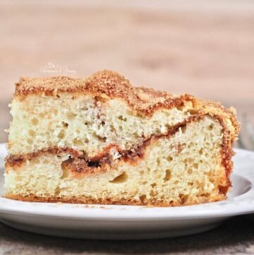 Close up of Simply Cinnamon Coffee Cake on a plate.