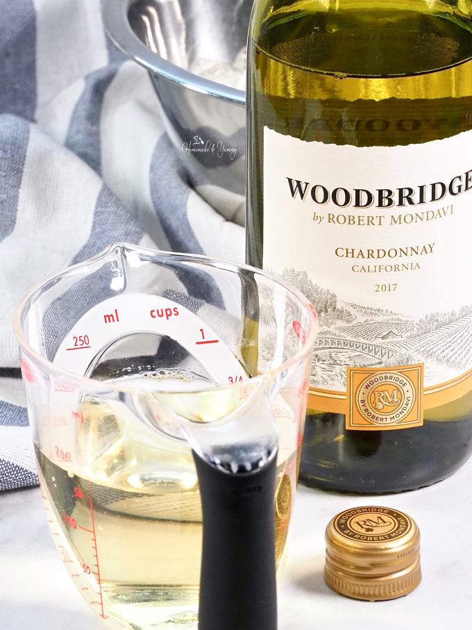 Picture of the brand Woodbridge by Robert Mondavi Wines measured out for the recipe.