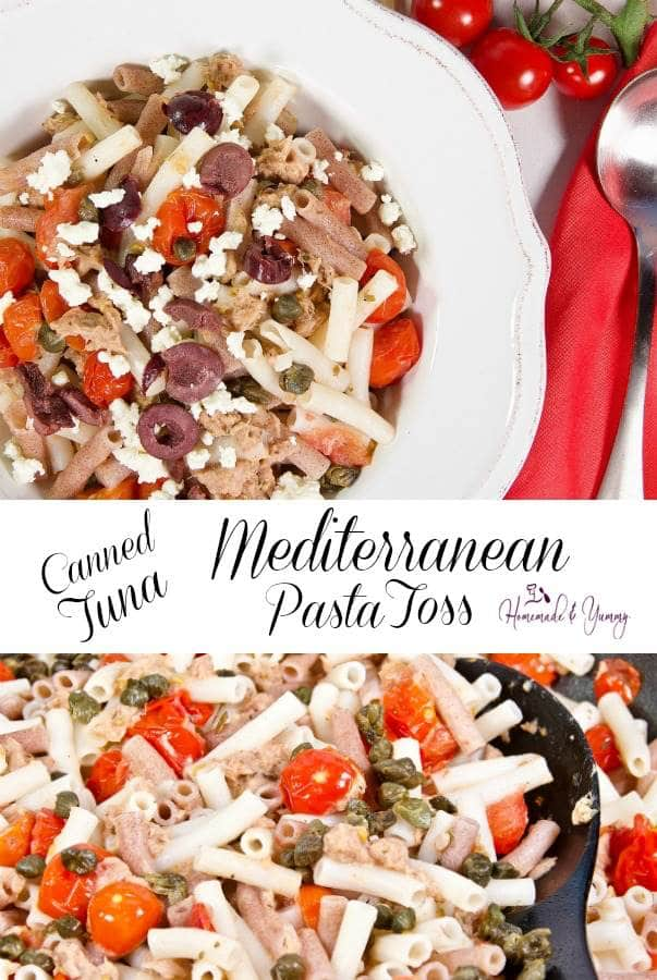Mediterranean Canned Tuna Pasta Toss Pin Image