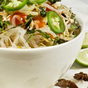 Close up of a bowl of slow cooker pho soup.