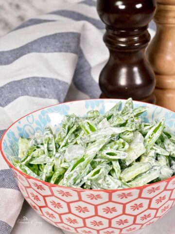 Fresh Snap Pea Salad in a serving bowl.