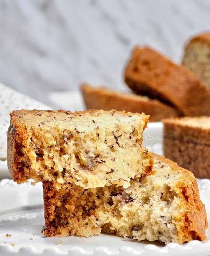 Closeup shot of a slice of banana bread showing the texture of the bread.