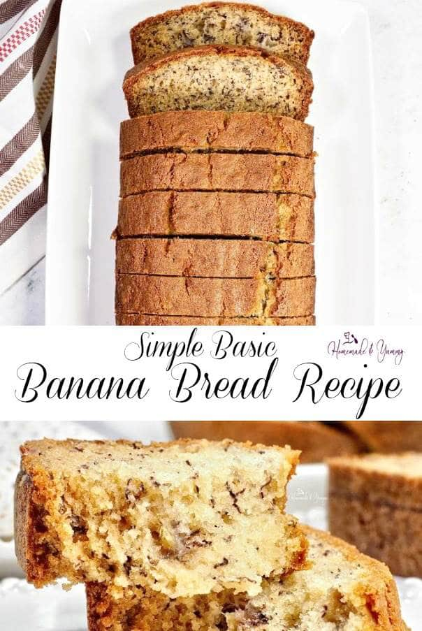Simple Basic Banana Bread Pin Image