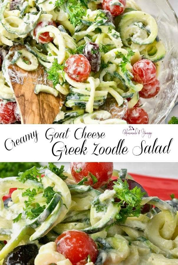 Creamy Goat Cheese Greek Zoodle Salad Pin Image