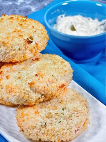 Fish Cakes on a plate ready to eat.