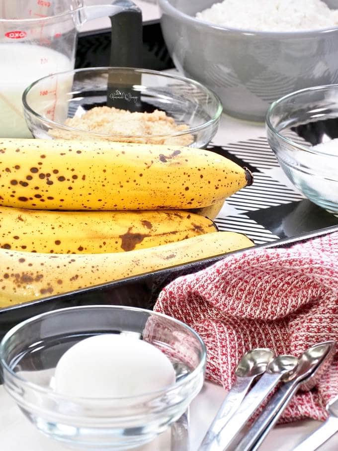 All the ingredients to make banana cake.