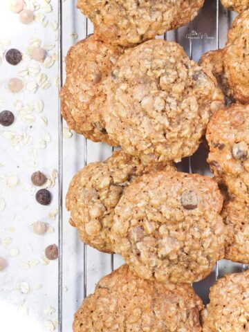 Chewy Cookies (Oatmeal Chocolate Chip) cooling on a rack.