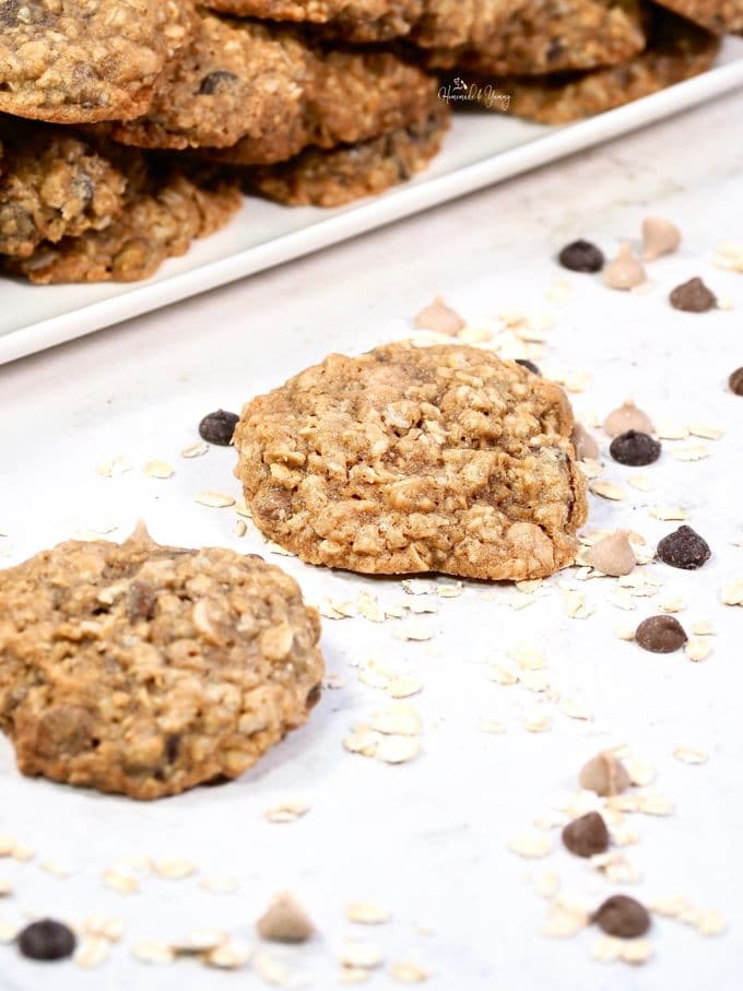 Fresh baked chewy oatmeal chocolate chip cookies.