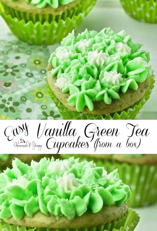 Easy Vanilla Green Tea Cupcakes (From A Box) Pin Image