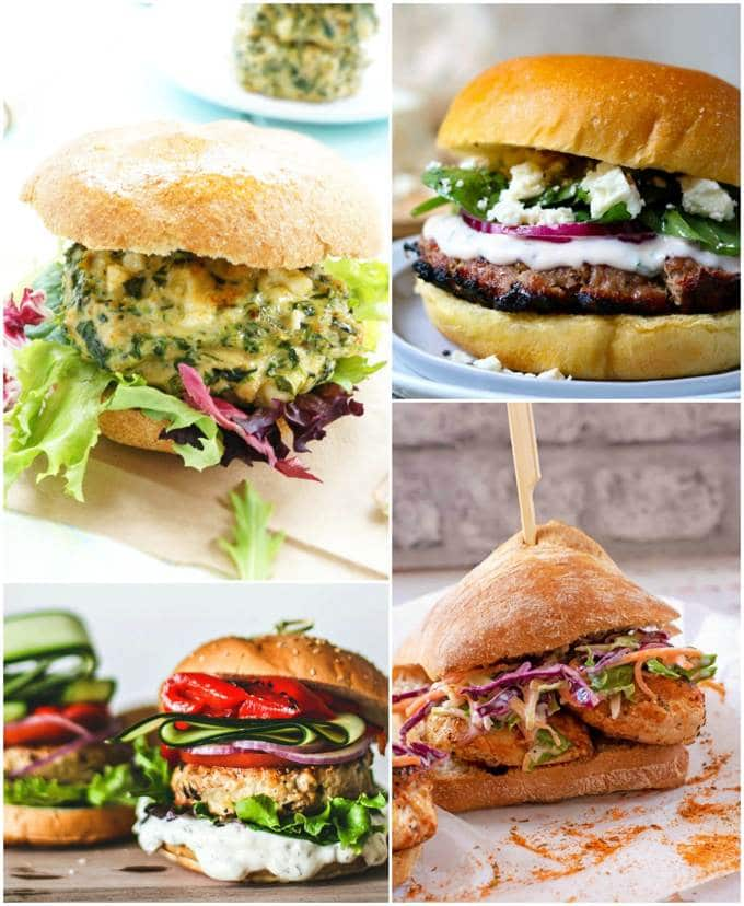 Chicken and turkey burgers collage for recipe roundup.