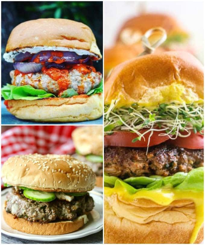 Lamb Burger collage for recipe roundup.