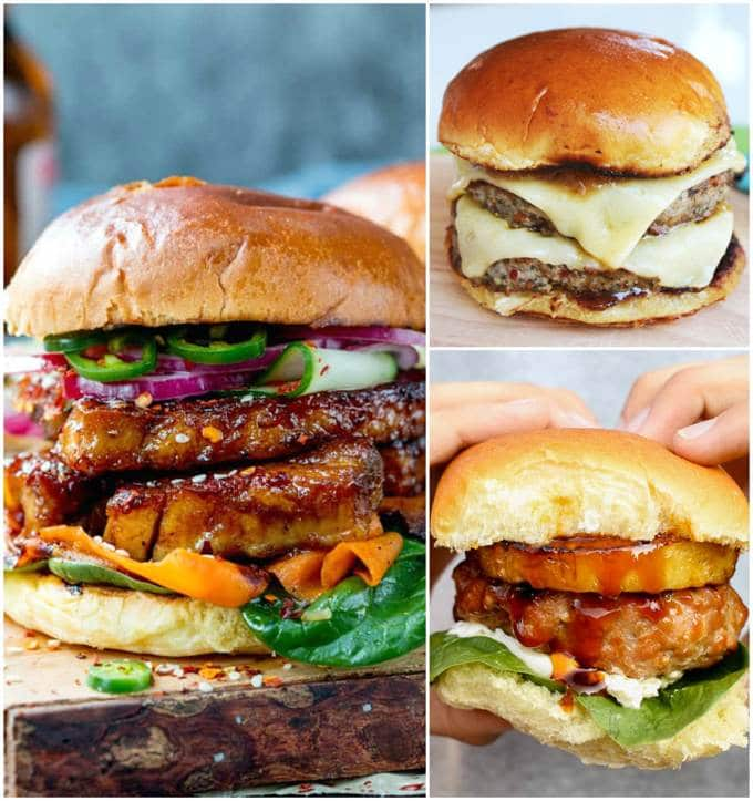 Pork Burgers collage.