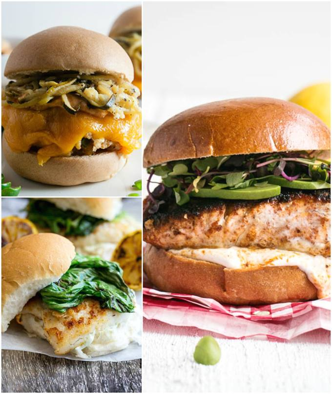 Seafood Burgers collage.