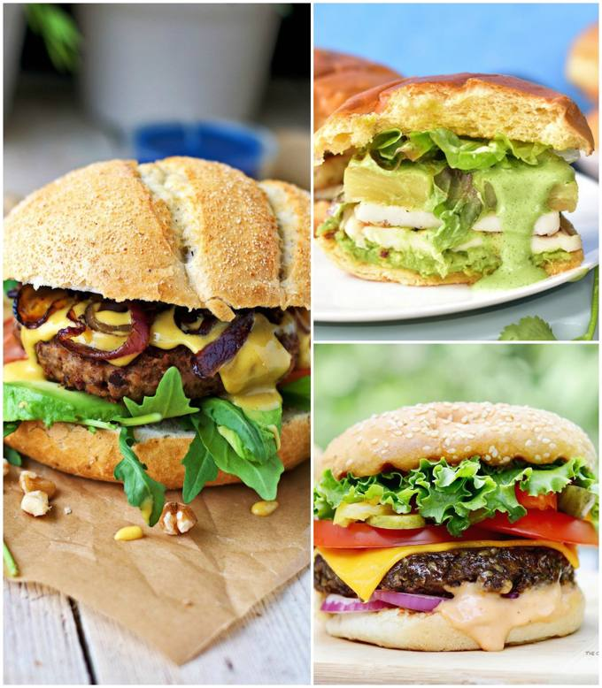 Homemade Vegan & Vegetarian Burgers Collage
