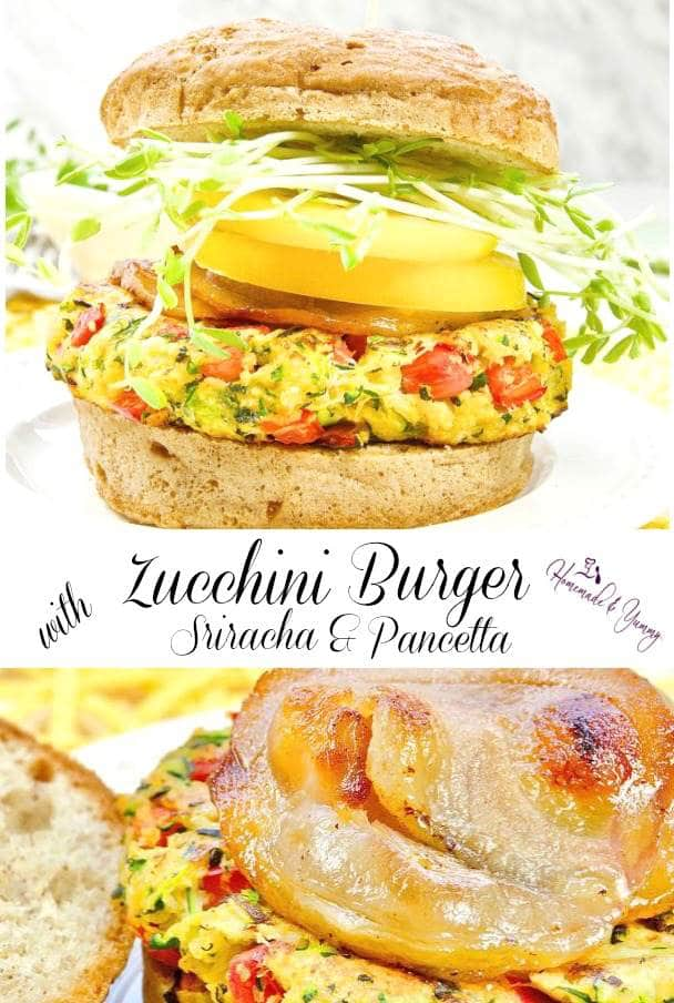 Zucchini Burger with Sriracha & Pancetta Pin Image