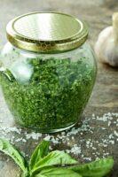 Freshly made herb salt in a jar.