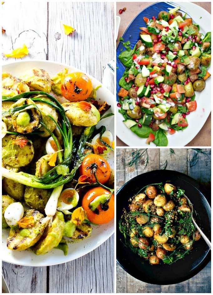 Collage of Warm Potato Salad Recipes