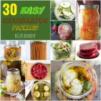 30 Easy Refrigerator Pickles Roundup Collage Image