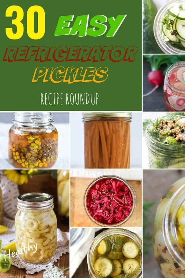 30 Easy Refrigerator Pickles Roundup Pin Image