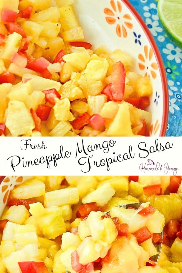 Fresh Pineapple Mango Tropical Salsa Pin Image
