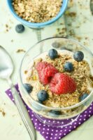 Overhead shot of Mocha Coffee Yogurt topped with berries and granola