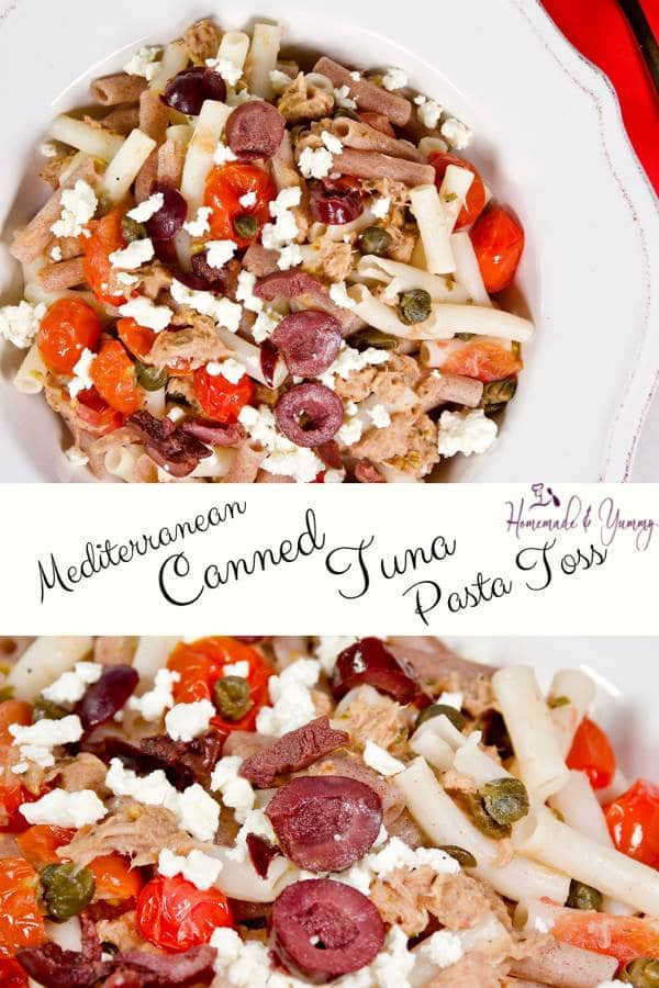 Mediterranean Canned Tuna Pasta Toss Pin Image 1