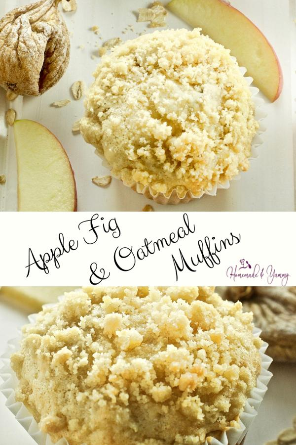Apple Fig & Oatmeal Muffins Pin Image (1 of 2)