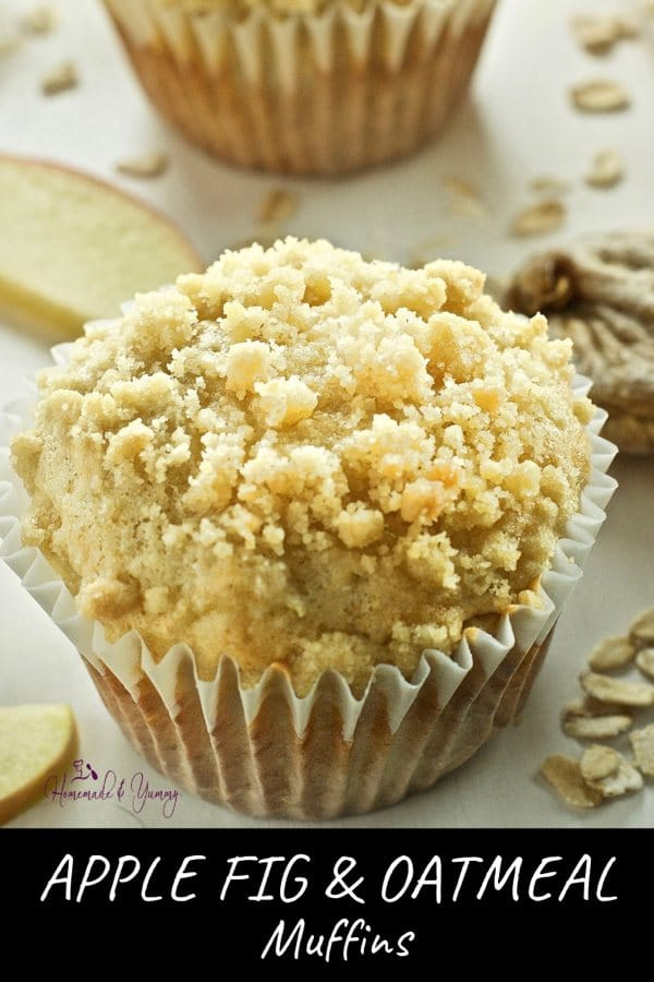 Apple Fig & Oatmeal Muffins Pin Image (2 of 2)