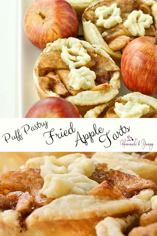 Puff Pastry Fried Apple Tarts Pin Image (1 of 2)
